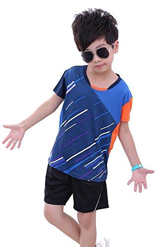 ZEVONDA Sport Sportkleidung Sweatshirt Outfit Trainingsanzug Badminton-Kleidung Anzug 2 PCS, Blau-Kinder, EU M = Tag L