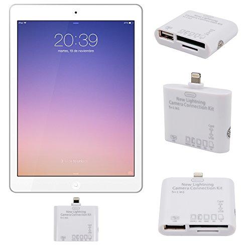 DURAGADGET Lector De Tarjetas + USB ¡ 5 en 1 ! Con Conexión Lightning Para Apple Ipad 4 / Air / Mini / Mini 2 + Gamuza Limpiadora - Compatible Con Tarjetas SD (HC) / TF / MS / M2 /