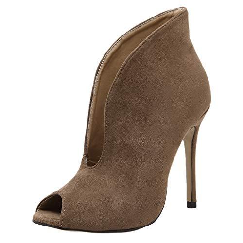 Qmber Damen Pumps Leaf Flame High Heel Schuhe Peep Toe Sandalen Block Party offene Zehen Schuhe V Mund fischmaul Extrem Stiletto Nachtclub Modell/Brown,35 -