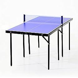 Homcom Mini Table de ping Pong Tennis de Table Pliable Portable Acier 153L x 77l x 67H cm Bleu et Noir