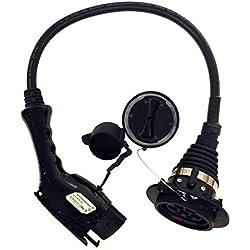 Adaptador para cambiar de cargador de tipo 2 a 1, de 32 amp