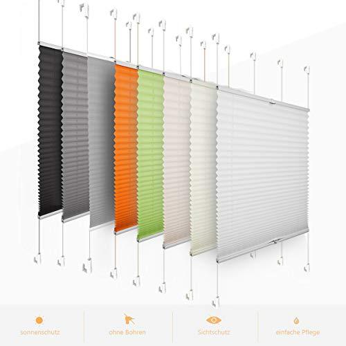 Plissee klemmfix Plisseerollo faltrollo zum kleben Vorhänge Sonnenschutzrollo 60 x 200 cm Weiß für Fenster