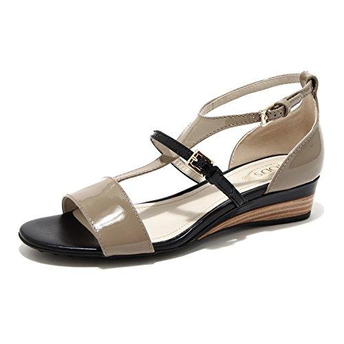 42880 sandalo TOD'S zeppa scarpa donna shoes women NERO/TORTORA