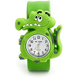 Top Quality New Cute Luminous Kids Boys Girls Silicone 3D Cartoon Animal Bendable Slap Watch Clap on Hand Gift Birthday Xmas - Green Crocodile
