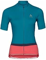 Odlo de Stand Up Collar S/S Full Zip fujin Camiseta, primavera/verano, mujer, color crystal teal - dubarry, tamaño small