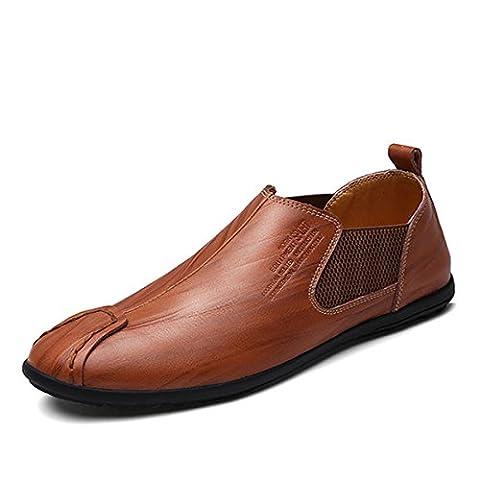 Herren Mokassin, Gracosy Oxford Slipper Lederschuhe Low-Top Casual Schuhe Handmade aus Leder Rotbraun 41