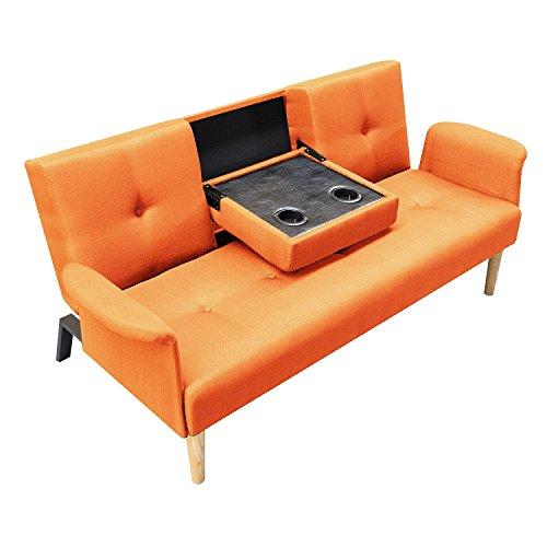 Homcom divano letto matrimoniale divano a 3 posti con funzione tavolino in tessuto di lino arancione, 190 x 85 x 79cm