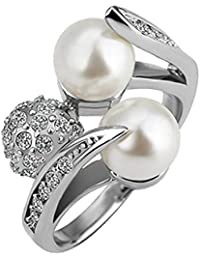 18K White Gold Plated, 2 Faux White Freshwater Pearls and Rhinestone Ball Wrapped with Pave Set Crystal Elements, Fashion Band Ring