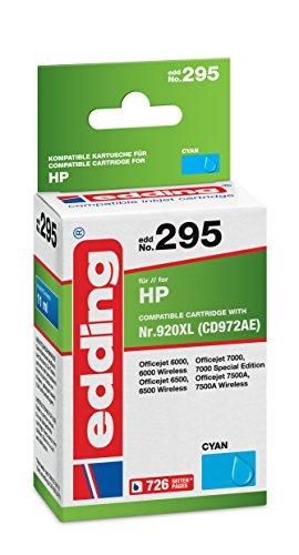 Preisvergleich Produktbild edding 18-295 Druckerpatrone,  Ersetzt: HP Nr. 920XL (CD972AE), Einzelpatrone, cyan