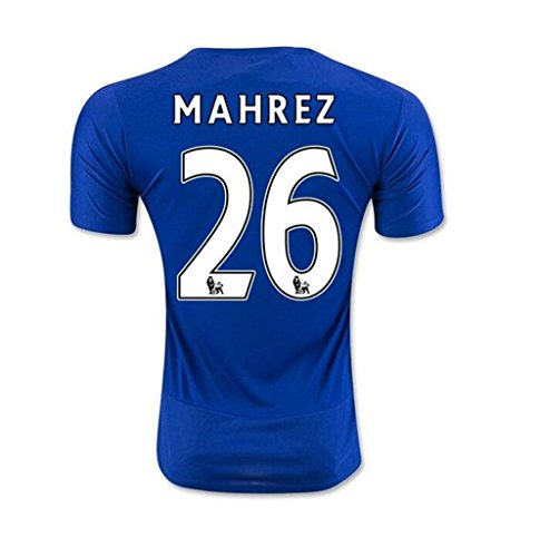 2016 Premier League UEFA Inghilterra Leicester City FC 26 Riyad Mahrez Football Soccer Jersey Home, colore: azzurro