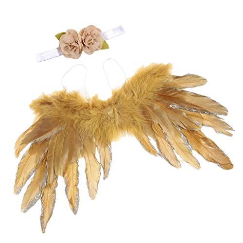 Baoblaze Baby Kostüm Set inkl. Engel Federflügel + Haarband mit Blumen Deko - Gold