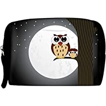 Snoogg Unisex Polyester Multi-Colored Owl Sit On Branch With Baby Owl Travel Buddy Toiletry Bag/Bag Organizer/Vanity Pouch