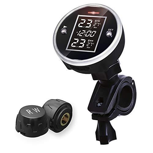 Obest sistema di monitoraggio della pressione dei pneumatici da moto con 2sensore esterno display tempo temperatura pressione dei pneumatici e allarme