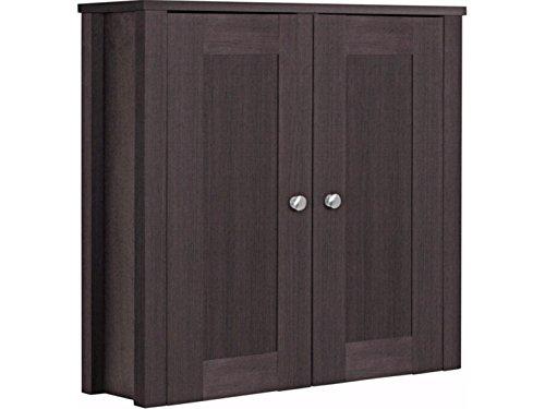 Loft24 Jane Hängeschrank Oberschrank Wandschrank Badezimmer Regal 60 x 22 x 60 cm Badmöbel dunkel braun 2 Türen