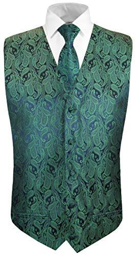 Paul Malone Hochzeitsweste + Krawatte Navy grün Paisley - Bräutigam Hochzeit Herren Weste