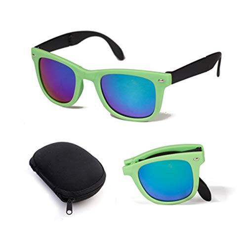 AOCCK Brillen Sonnenbrillen Men Women Foldable Sunglasses With Original BOX Folding Glasses With Case Designer Mirrored Sun Glasses Folded green kuang has box