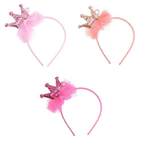 YiZYiF Kids Sequin Tiara Birthday Girl Princess Party Tiaras and Hair Clip Set