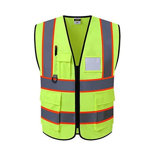 Jian E - & Reflektierende Weste - Bauingenieurwesen Schutzkleidung Jacke Grüne Sicherheitsweste (2 Farbauswahl) /-/ (Farbe : A)