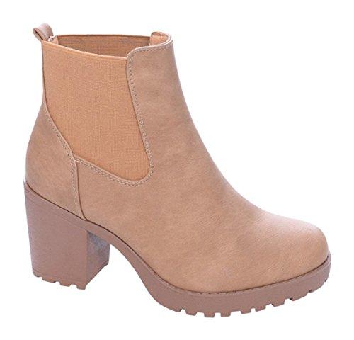 Damen B2 Ankle Schuhe Camel Plateau Boots Stiefel Stiefeletten 7rOw7