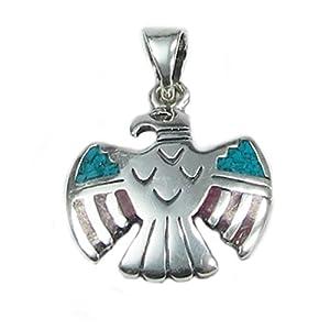 Indianerschmuck Kettenanhänger aus Sterling Silber – Thunderbird, mittel – Türkis / Koralle