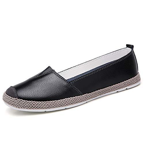 Mocassini Donna in Pelle Estivi Comode Piatte Loafers Eleganti Basse Scarpe da Guida Slip On Lavoro Barca Sneakers Nero Bianco Blu 36-42 EU Nero 42