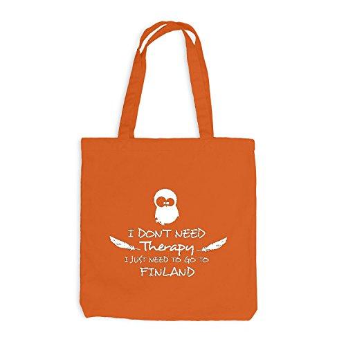 Jutebeutel - Therapy - Go to Finland Urlaub Holiday Orange