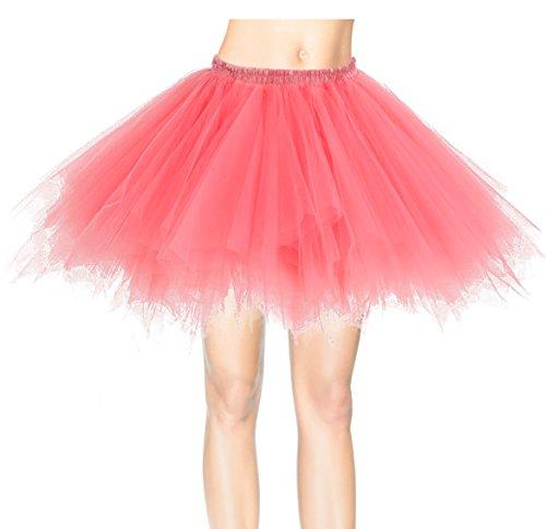 Dresstells Kurz Retro Petticoat 50er Tutu Rock Reifrock Ballett Tanzkleid Unterkleid Rockabilly für Kostüm Party Coral (50's Party Kostüm)