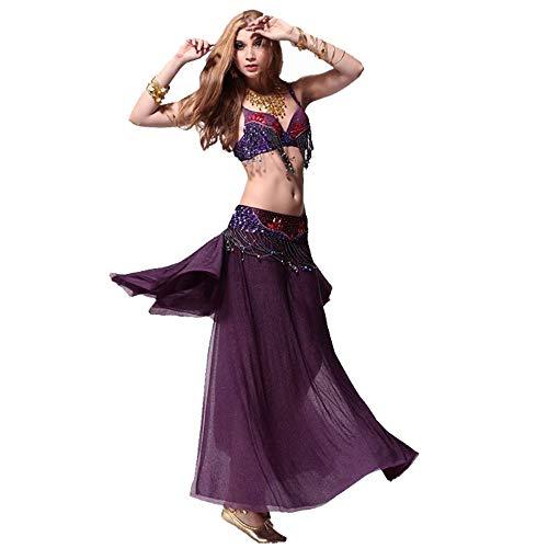Kostüm Großer Büstenhalter - Cvbndfe Tanzkleid für Frauen Bauchtanz Kostüme Bühnenkostüme Tanzanzüge (Büstenhalter/Gürtel/Rock/Accessoires) elegant (Farbe : Lila, Größe : M)