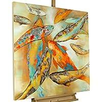 Dipinto in acrilico KunstLoft® 'La koi' in 80x80cm | Tele originali manufatte XXL | koi giapponesi su sfondo beige con sfumature argento pesci | Quadro da parete dipinto in acrilico arte moderna