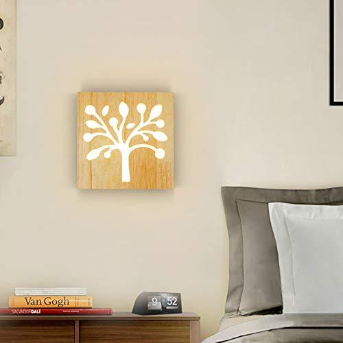 LXSEHN LED Modern Einfach Massivholz Kleiner Baum Wandlampe, Persönlichkeit Schlafzimmer Bett Wohnzimmer Gang Lampe Beleuchtung Lampen Laternen (Farbe : Warmes Licht)