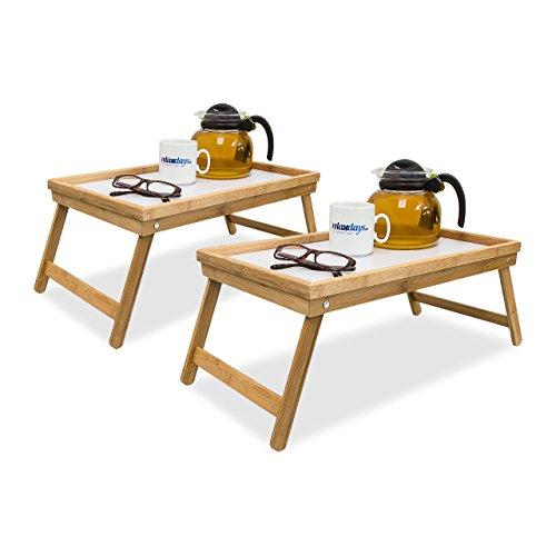 2x Betttablett Bambus, Tabletttisch mit Füßen, Sofatisch mit klappbaren Beinen, H x B x T: ca. 23,5 x 63 x 31 cm, weiß -