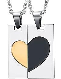 Daesar Joyería Collar Colgante Acero Mujer Hombre, Placa Nombre Militar Colgante Corazón Rompecabezas para Parejas