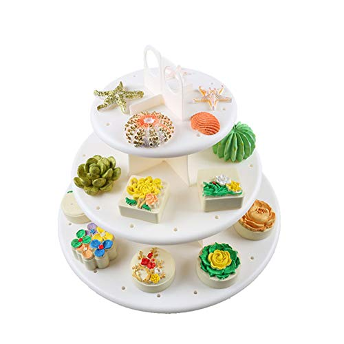 3-Tier-Kuchen Steht, Obst Desserts, Cupcake, Candy Buffet Tee, Snack Cookies, Plastikteller, Servierteller, Display Tree, Stand für Hochzeit, Home Birthday Festival Party, Runde - Tee-ring-cookies
