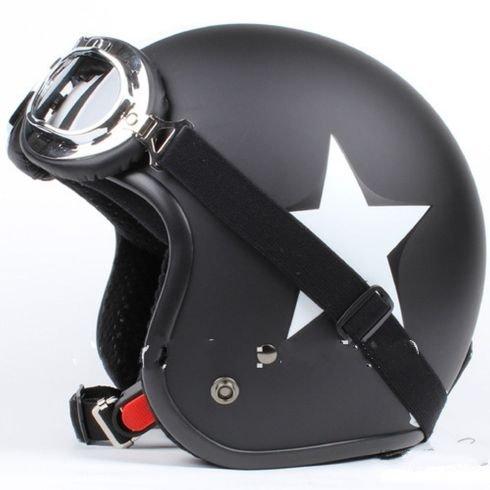 GZM Casque jet moto homologué type Bandit noir mat étoile blanche + lunettes M noir