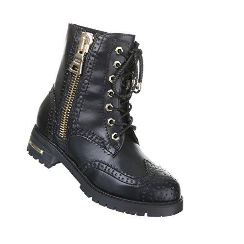 Damen Schuhe Gothic Stiefelette Boots Punk Stiefel mit Nieten Nr 18 Schwarz