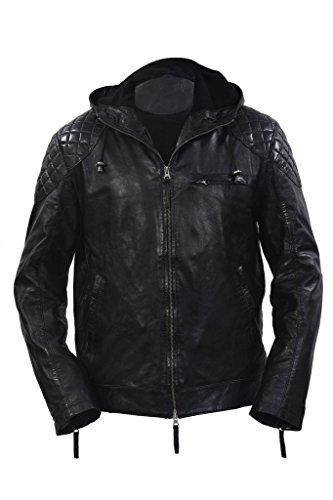 Giacca in pelle nera trapuntata con cappuccio retro breve reale Nappa uomo 3XL