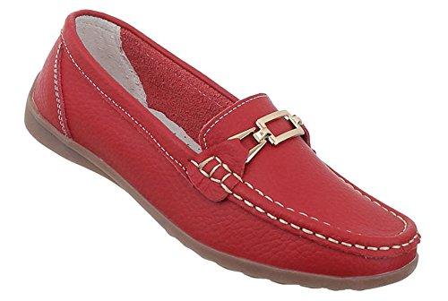 Damen Schuhe Mokassins Echtleder Halbschuhe Schnürschuhe Ballerinas Sommerschuhe Partyschuhe Rot 35