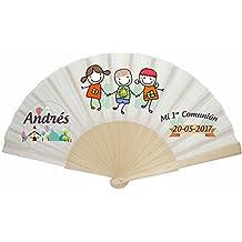 Abanico mixto (niño o niña) personalizado con dibujos y texto para detalles de Comunión (25)