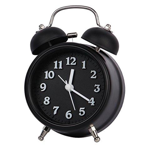 Despertador para habitaciones, [Actualización 2018] 4.9 '' Sin movimiento de tic-tac y gran reloj de alarma digital estereoscópico Twin Bell, reloj despertador super-fuerte para durmientes pesad