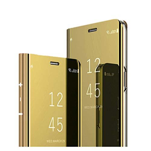 Hülle für Huawei Y7 2019 Handyhüllen Flip Handy Case Cover mit Standfunktion Business Serie Hülle Hart Case Cover Faltbare Standfunktion,Bumper Stoßfeste Schutzhülle für Huawei Y7 2019 (Gold) Business-serie Handy