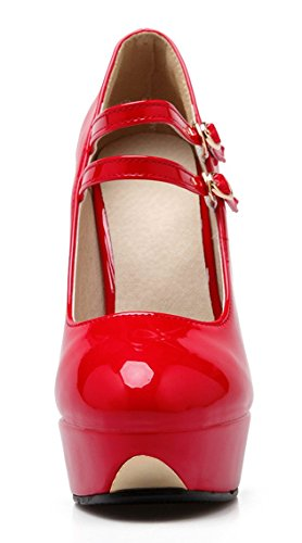 YE Damen High Heels Ankle Strap Lackleder Pumps mit Schnalle Plateau Stiletto Elegant Party Schuhe Rot