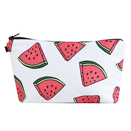 Godagoda Kosmetiktüte Cartoon Wassermelone Druck Aufbewahrungstasche Kosmetiktasche Kulturbeutel Zipper Reißverschluss Handtasche