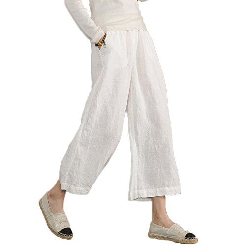 Ecupper Damen Leinenhose 7/8 Sommerhosen Leicht mit Elastischem Bund Casual Loose Fit Trousers Weiß L