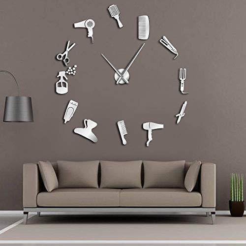 GZGJ Bricolaje Peluquería Reloj de Pared Gigante con Efecto Espejo Juegos de Herramientas de peluquería Reloj sin Marco Decorativo Peluquero Peluquero Arte de la Pared