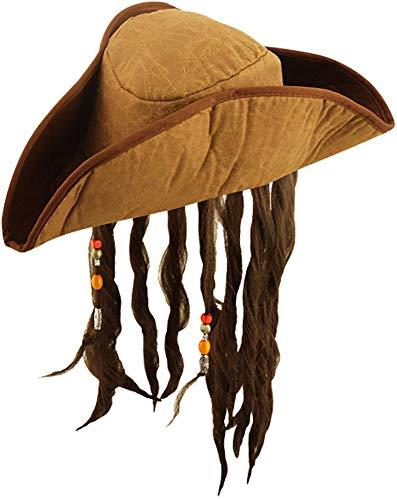 Jack Sparrow Style Karibik Piratenhut mit Haaren - Piratenhut Jack Sparrow