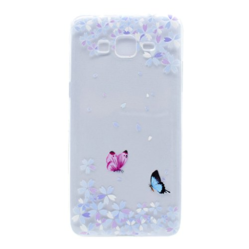 Skitic Elegante e Leggera Trasparente Clear Custodia per Samsung Galaxy Core Prime G360, Patterns Series Crystal Morbido Flessibile TPU Silicone Gel Protettivo Case Cover per Samsung Galaxy Core Prime G360 - Fiori & Farfalla