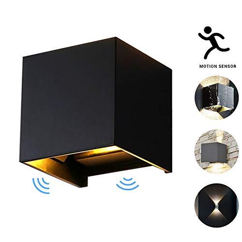 Applique da parete a led con sensore di movimento per esterni/interni a led, 7 / 12w lampada da parete orientabile impermeabile, sensore a parete per giardino/ingresso / portico (nero, 12w)