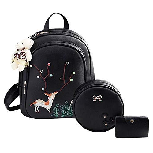 Bagkeena 3-Teiliges Set mit Hirsch-Motiv, Mini-Rucksack, für Damen, Runde Schultertasche, Damen, Schwarz