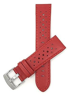18mm - 30mm (Disponibile en Extra largo), Correa reloj de cuero auténtico, Estilo GT Rally, hebilla de acero inoxidable, disponible en negro, rojo, jaula, naranja, azul real, marrón et rosa y blanco