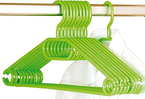 Kesper - Juego de 10 Perchas de plástico, Verdes
